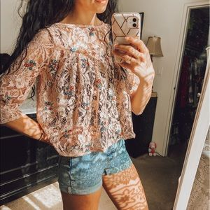 Zara Basic Collection Floral Lace Top